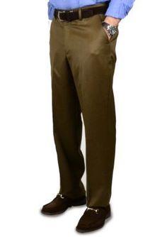 BERLE Tobacco Super 100s Gabardine Trouser