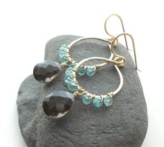 Gold Dangle Earrings, Crystal Earrings, Smokey Quartz, Apatite, Gold Filled Wire Work Jewelry by DianeMabrey on Etsy