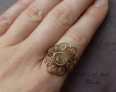 Wire wrapped ring boho jewelry earthy by PillarOfSaltStudio