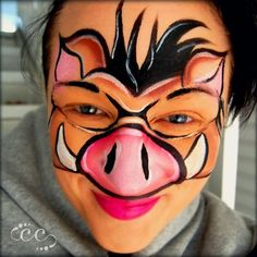 Warthog, Wild Pig face paint design by artist Ashlie Alvey of Chubby Cheeks Body Art in Savannah. Georgia #animal #facepaint #pigs #facepainting