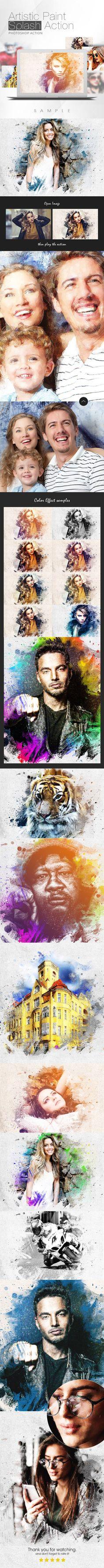 Artistic Paint Splash Action - Photo Effects Actions