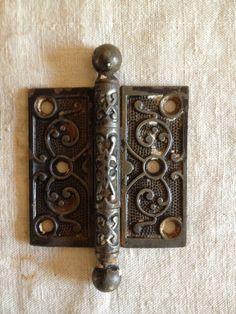 Vintage Antique Ornate Victorian Door Hinge 3 X 3