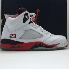 12240195f43 Nike Air Jordan 5 V Retro Fire Red Black Tongue Size 12