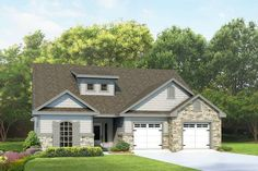 This attractive Craftsman style home features a spacious foyer with a step ceiling.  The living area has a predominant corner fireplace with windows and a French door to the side leading on to a covered patio.