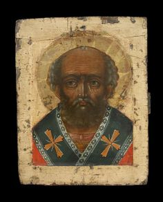 Full: Front Icon painted in egg tempera on wood prepared with linen and gesso. The saint is portrayed frontally, bust-length, nimbed and wearing an omophorion indicating his status as bishop. © The Trustees of the British Museum Early Christian, Christian Art, Santa Pictures, Russian Icons, Byzantine Icons, Saint Nicholas, Orthodox Icons, Medieval Art, Religious Art
