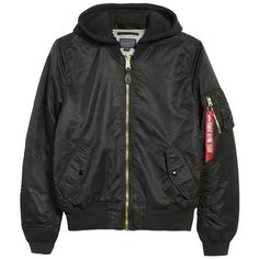 Men's Alpha Industries Ma-1 Natus Hooded Bomber Jacket (210 CAD) ❤ liked on Polyvore featuring men's fashion, men's clothing, men's outerwear, men's jackets, mens hooded bomber jacket, mens water resistant jacket, mens flight jacket, mens blouson jacket and mens nylon bomber jacket