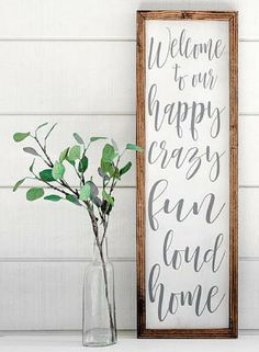 Need this sign for my house! Crazy and loud ALL the time!! Welcome to our happy crazy fun loud home,| Farmhouse Wood Sign | Shabby Chic Decor | Farmhouse decor | Rustic decor | Home decor | Farmhouse wall art #ad #shabbychichomesrustic