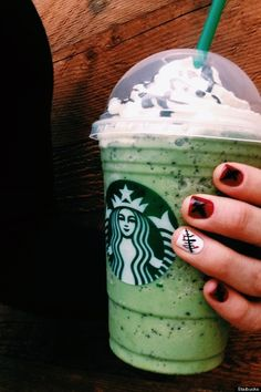 Start with a green tea Frappuccino Add java chips Add 3 pumps of white mocha sauce Add 3 pumps of peppermint syrup (and substitute that for the classic syrup – there's no classic syrup in the Franken Frappuccino.) Top with whipped cream and mocha drizzle.