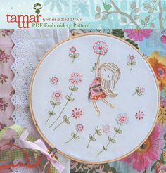 Embroidery Patterns Baby Girl Girl in a Red by TamarNahirYanai, $5.00