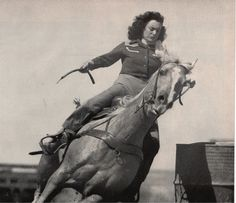 Cowgirl performing in a Texas rodeo, 1946.