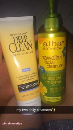 hey guys! these are the two daily facial washes I use everyday. I start with using the Hawaiian facial cleanser to brighten and tone my skin. Then I use the deep skin cleanser to really get all the grime and makeup off and rinse with cold water and my face feels sooo fresh!  ✧ [ pinterest: ] simonetips ✧
