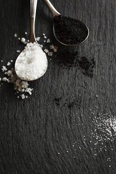 Two spoons of sea salt and black salt