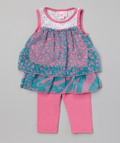 Love this Pink Chiffon Top & Leggings - Toddler by Girls Luv Pink on #zulily! #zulilyfinds