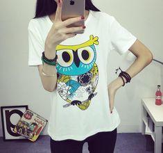 Best price on Naughty Owl Print O-Neck T-shirt  �  Price: $ 15.80