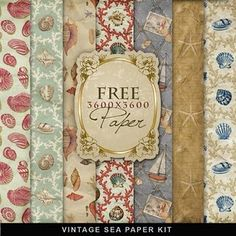 Free scrapbooky stuff. LOVE this vintage sea paper.