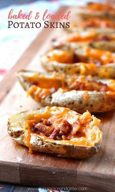 The secret to easy homemade potato skins? Brushing them with a bit of oil and baking them - and then loading them with cheese and bacon #recipe #gameday
