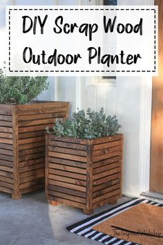 DIY Scrap Wood Outdoor Planter : DIY Outdoor PLanter made with scrap wood Want to spruce up your front porch or patio, and need to do it on budget? How about a free DIY scrap wood outdoor planter that is sure to wow your friends! Diy Planters Outdoor, Outdoor Gardens, Diy Wood Planters, Diy Patio, Pallet Planter Box, Tree Planters, Wooden Planter Boxes, Window Planter Boxes, Outdoor Patios