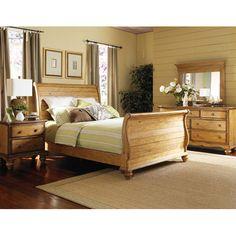 Hamptons Weathered Pine Queen Size Sleigh Bed Hillsdale Furniture Queen Sleigh Beds Bedroom $1480.95