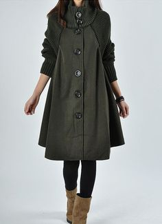 Green wool Princess style cape Hood Coat winter Jacket cute coat women coat winter coat