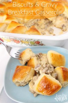 Biscuits and Gravy Breakfast Casserole - FamilyFreshMeals.com -