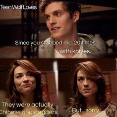 "Isaac: ""I'm trying to flirt with u and have u say sorry.""  Allison: ""HA, ya that's not going to work."""