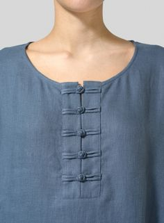 design of blouse Linen Handmade Knot Button Long Blouse Chudi Neck Designs, Neck Designs For Suits, Sleeves Designs For Dresses, Neckline Designs, Blouse Neck Designs, Chudidhar Designs, Simple Kurti Designs, Stylish Dress Designs, Kurta Designs Women