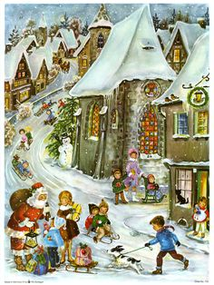 Bright paper child's Christmas advent calendar with excellent litho and glitter! Cosy Christmas, Christmas Scenes, Christmas Past, Very Merry Christmas, Retro Christmas, Christmas Windows, Illustration Noel, Christmas Illustration, Vintage Christmas Images