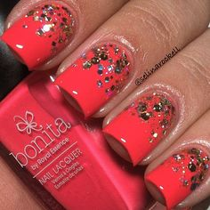Try this silver sparkle on coral nail polish for an extra touch of glam.
