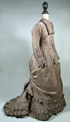 c. 1876 Silk Taffeta Bustle Dress