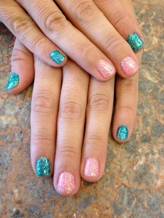 Turquoise and Pink Rock Star Nails