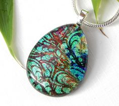 Rich Jewel Colours Dichroic Glass Pendant, Peacock Patterned Glass Necklace, Fused Glass Jewelry by TremoughGlass on Etsy