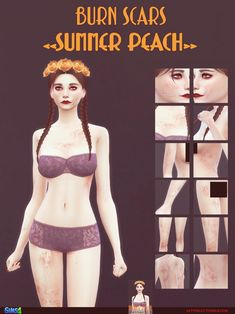 Burn scars - Summer Peach 62 swatches For Face + Face and Body For all genders F. Sims 4 Tattoos, Sims Stories, Sims 4 Black Hair, Face And Body, Face Face, Skin Burns, Sims 4 Characters, Sims4 Clothes, Sims 4 Cc Makeup