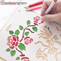 BalleenShiny Hand Drawing Stencil Tools Toys DIY Photo Album Novelty Educational Creative Children Various Styles Art Supplies - List of the most creative DIY and Crafts Diy Photo, Diy Album Photo, Drawing Stencils, Diy And Crafts, Arts And Crafts, Diy Cadeau, Tools And Toys, Vides, School Stationery