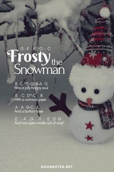 Frosty the Snowman - Traditional music notes for newbies: Frosty the Snowman – Traditional. Play popular songs and traditional music with note letters for easy fun beginner instrument practice - great for flute, piccolo, recorder, piano and Music Notes Letters, Piano Sheet Music Letters, Piano Music Easy, Piano Music Notes, Clarinet Sheet Music, Music Music, Music Chords, Guitar Sheet, Music Sheets