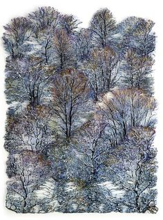 Lesley Richmond Textile Fiber Art, Textile Artists, Free Motion Embroidery, Embroidery Art, Fabric Painting, Fabric Art, Silk Fabric, Creative Textiles, Nature Artists