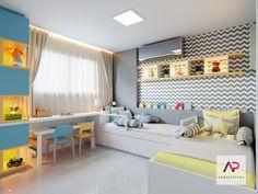 Quarto infantil ✨projeto do quarto para receber um casal de gêmeos, apostando nas formas geométricas e na harmonia das cores!  •…