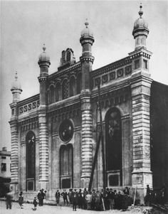 The Brzenziny town synagogue which was destroyed by the Nazis during the war.    Located near Lodz, the town of Brzeziny had a Jewish majority - 6,850 of 13,000 inhabitants as late as 1939.  During the Nazi occupation a ghetto was established (Feb. 1940) which held nearly 6,000 people and was liquidated on 19 - 20 May 1942.  Elderly Jews were sent to Chelmno and the rest to the Lodz ghetto.