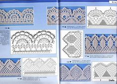 Check out the diagrams and learn to make more than 150 points, (crochet edgings) with images. There are several crochet borders that can be applied in various crochet projects. Choose your favorites… Crochet Dollies, Crochet Lace Edging, Crochet Motifs, Crochet Borders, Crochet Diagram, Crochet Chart, Love Crochet, Thread Crochet, Crochet Trim