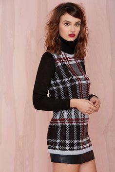 Plaid Student Turtleneck Sweater Dress