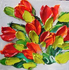 Original Oil Painting Red Tulips Wall Decor by IronsideImpastos Tulip Painting, Painting Edges, Texture Painting, Paint And Drink, Palette Knife Painting, Red Tulips, Finger Painting, Flower Art, Flower Mural