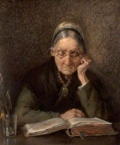 Old Woman Reading, Most sources say M Knoop, but National Inventory of Continental European Paintings attributes to August Hermann Knoop. European Paintings, Classic Paintings, Your Paintings, How To Read People, Book People, Reading People, Reading Art, Woman Reading, Reading Time