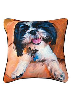"Shih Tzu Baby Throw Pillow features famous portrait ""Shih Tzu Baby"" by Robert McClintock.Recommended for indoor and outdoor use. Woven on jacquard looms.  Measures: 18"" x 18""  Shih Tzu Pillow by Manual Woodworkers and Weavers. Home & Gifts - Home Decor - Pillows & Throws Oregon"