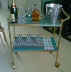 the retro bar cart I refurbished for my best friend's daughter. Happy 21st Birthday! check out before and after on my tumblr.