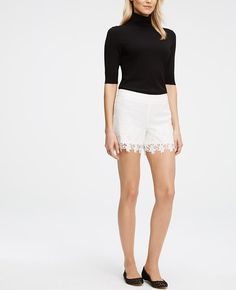 All the trimmings: intricate lace trim takes this modern romantic from everyday to extraordinary. Hidden side zip with hook-and-eye closure. Lined. Lace Trim Shorts, White Shorts, Ann Taylor, Short Dresses, Clothes, Spring 2016, Romantic, Closure, Eye