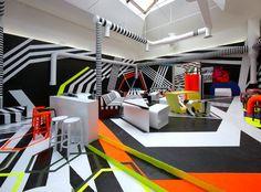 Artek - Cafeteria at Palazzo delle esposizioni, Giardini della Biennale Neon Colour Palette, Office Mural, Cafe Concept, Memphis Design, Art Deco, Store Interiors, Booth Design, Restaurant Design, Interior Design Inspiration