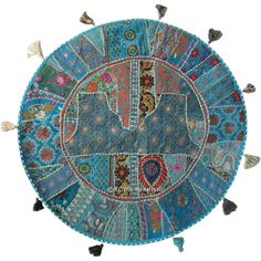 Indian handmade round patchwork floor pillow which fits any living room and bed room and very easy to carry one to next room. A perfect example of Indian vintage patchwork art. The patches comes from old sari, lengha, ladies suit, dress and other vintage stuff and all patches are joint perfectly with multiple threads and beautiful embroidery work is done which makes more beautiful. You need to fill it by self at home with raw cottonpolystyrene beansshredded foam. Oversized means you can ...