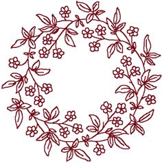 Free Redwork wreath Patterns To Download | Redwork Forget-Me-Not Wreath | Machine Embroidery Design