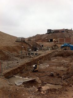View back up the hill to the tanks and ball mill from the truck scale