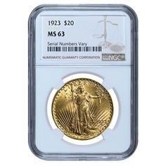 1923 $20 Gold Saint Gaudens Double Eagle Coin NGC MS 63