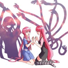*Builds bunker at core of earth* Mirai Nikki Yuno Gasai crossover with Elfen Lied Lucy
